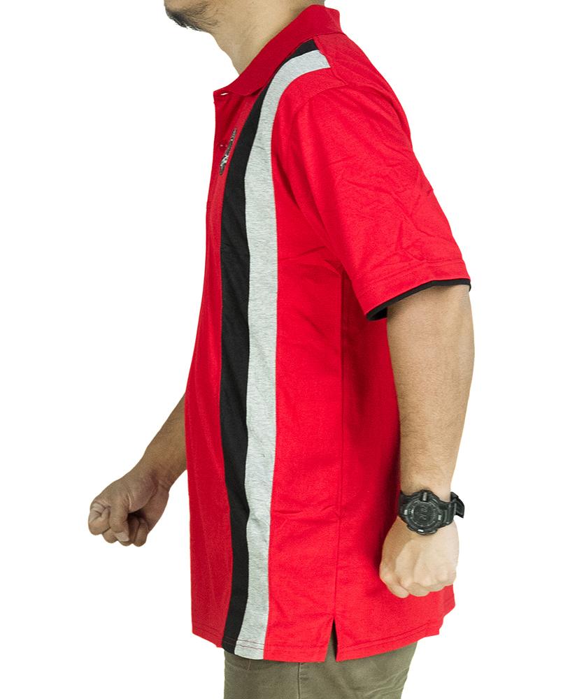 CY 342A [ RED / DARK BLUE ] MAN CASUAL POLO COLAR SHIRT BIG SIZE PLUS 7XL