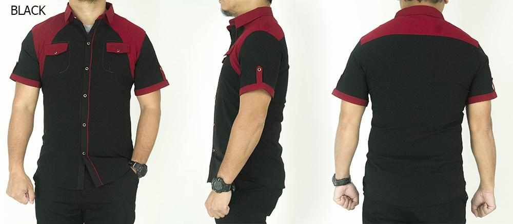 Cy 722 Casual Man Office Shirt Kpop Slim Fit Plus Size Besar Skinny