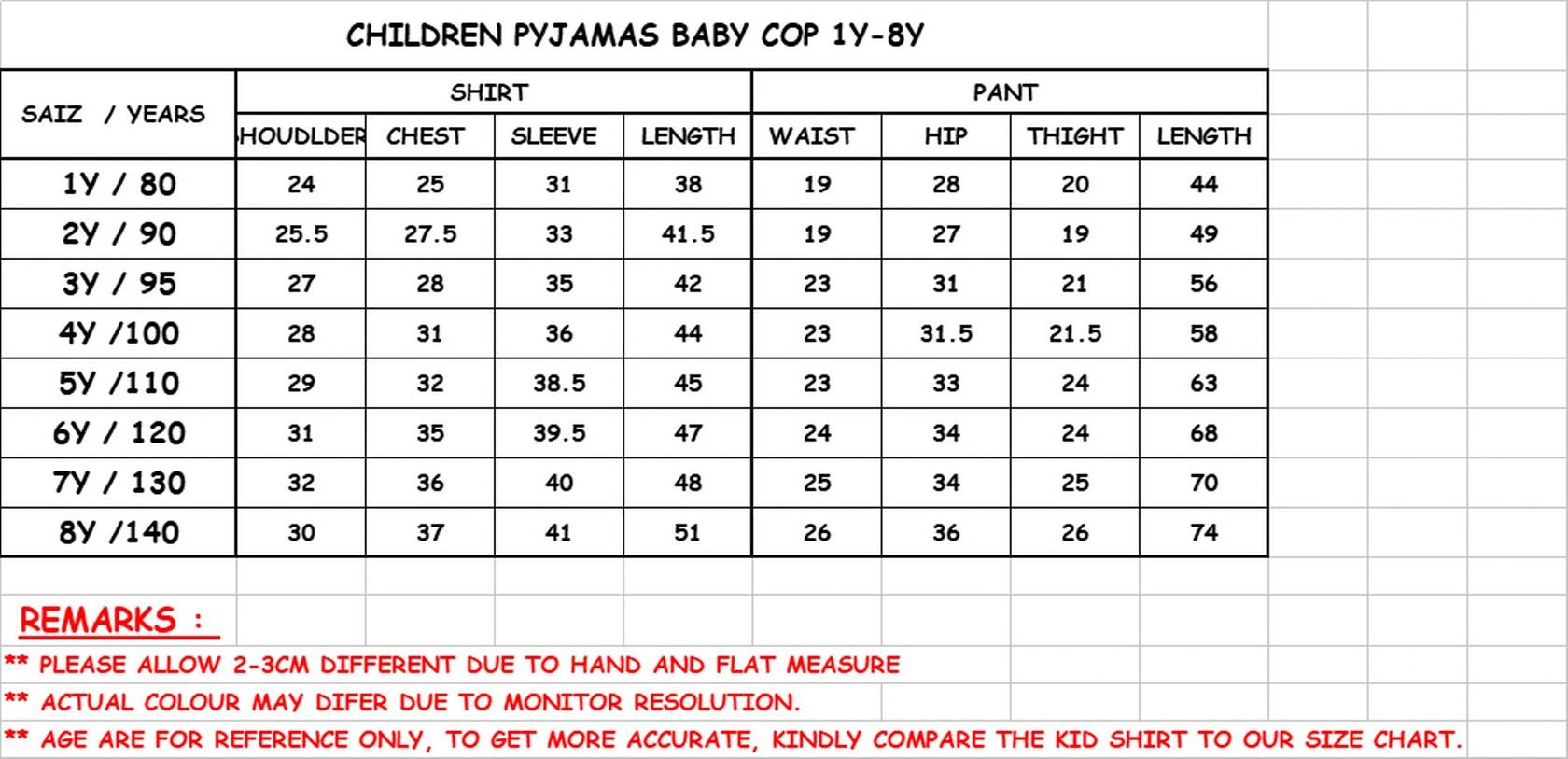 CY 153729 CHILDREN  SUIT PASANG BUDAK DISNEY PYJAMAS HELLO KITTY